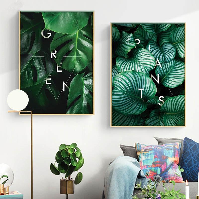 Gohipang verde planta hoja pared arte lienzo carteles estampados Estilo nórdico pintura abstracta imagen decorativa decoración moderna para el hogar