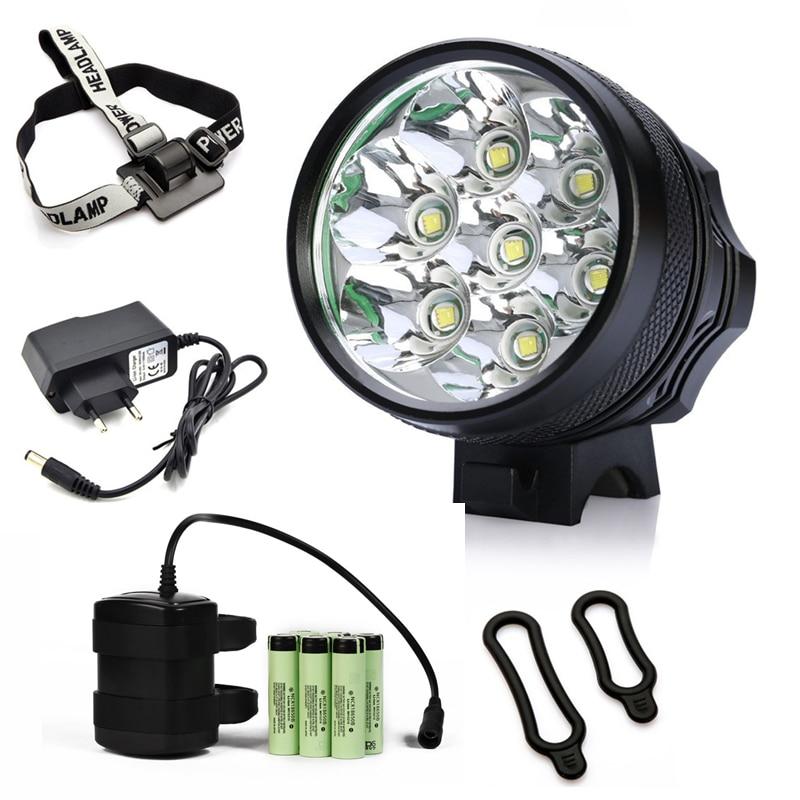 Luz de bicicleta nueva 7x CREE XM-L T6 LED Faro de bicicleta 8400 Lumen lámpara de bicicleta de montaña Luz de pesca 9600mAh Paquete de batería impermeable