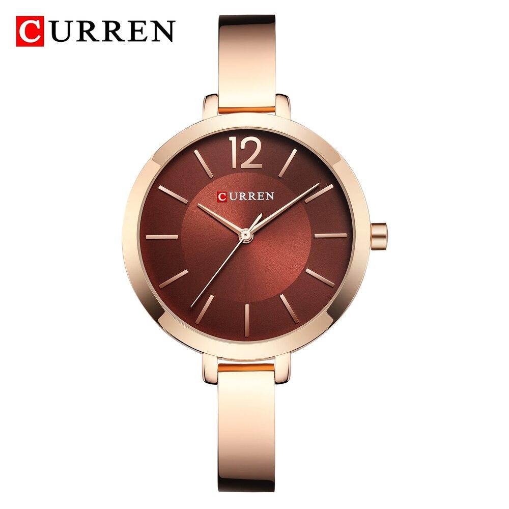 CURREN Fashion Gold Watches Women Watch Brand Luxury Ultra Thin Quartz Female WristWatch Woman Romantic Clock Relogio Feminino