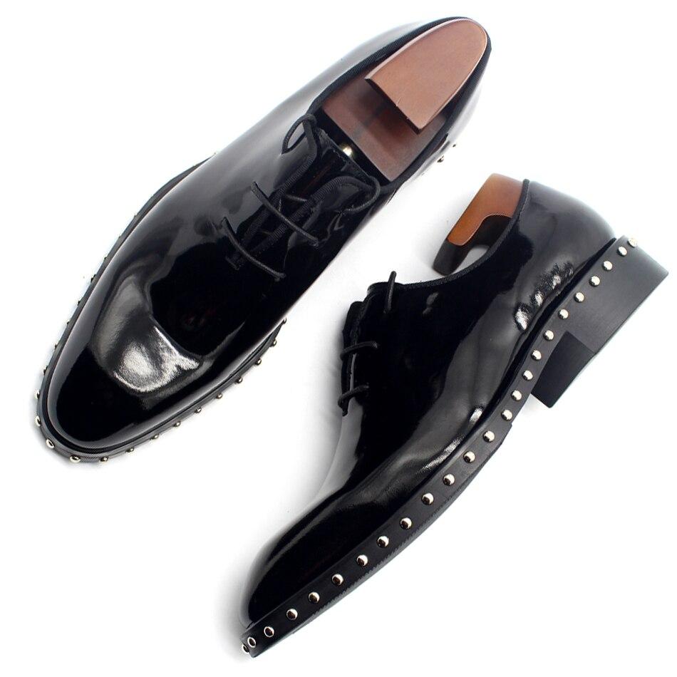 Мужские туфли ручной работы из лакированной кожи на шнурках, новые модные деловые туфли на весну-осень, броги, туфли в стиле Derby Hombre Sapatos