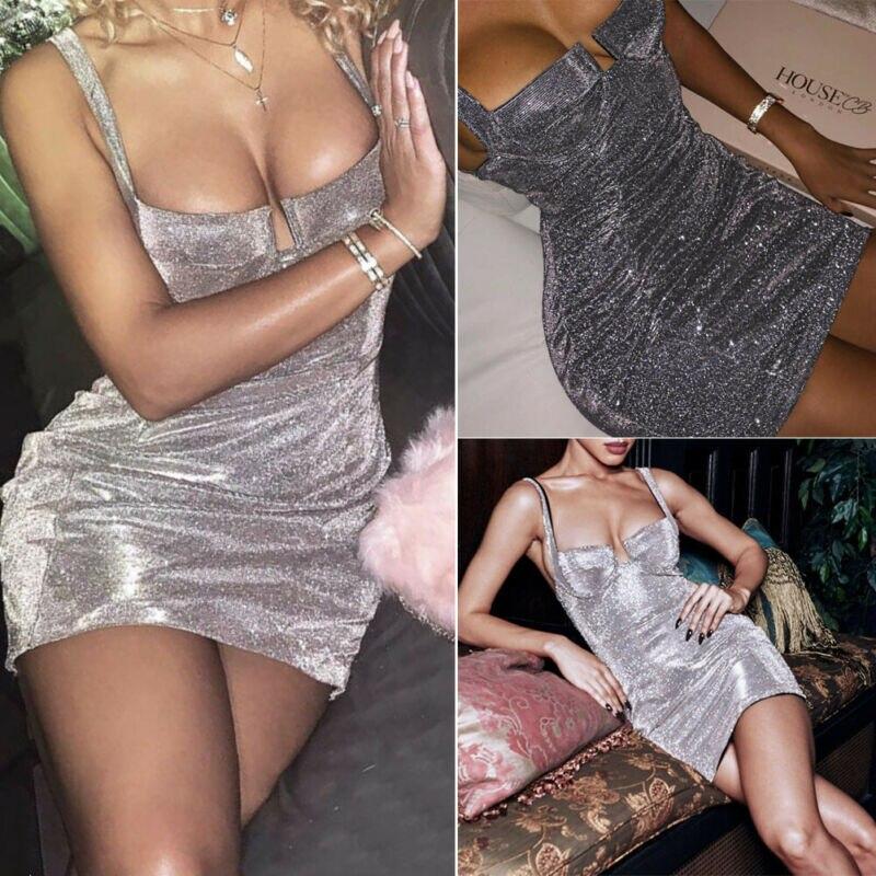 Minivestido Sexy de señora, sin mangas, de alambre plateado, elástico, Push Up, ajustado, liso, con cuello en V, para discoteca
