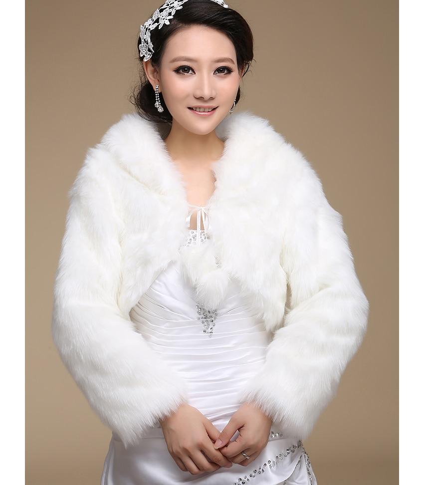 Ivory Black White Faux Fur Wrap Wedding Shrug Bolero Coat Bridal Accessories Shawl