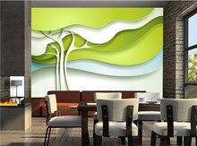 На заказ любой размер 3D фото обои современный дизайн Зеленые абстрактные фотообои с изображением деревьев гостиная спальня ТВ фон настенна...