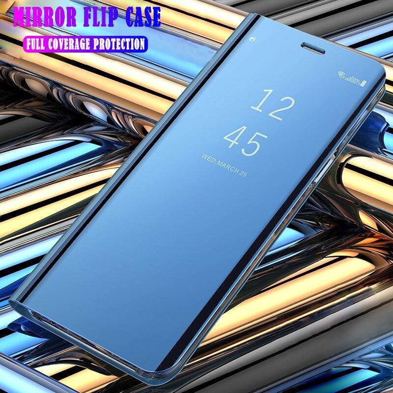 A6 + espelho filp estojo de couro para samsung galaxy a6 2018 a605fn inteligente espelho livro para samsung a 6 + a6 plus 2018 capa funda