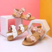 Новинка; Летние детские сандалии на плоской подошве с цветочным принтом для маленьких девочек; Модельные туфли для детей; Пляжные сандалии ...