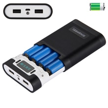 FAI DA TE 4x18650 Cassa di Batteria Portatile Accumulatori e caricabatterie di riserva Borsette Box 2 Uscita USB e Display per il iPhone/Galaxy Senza batteria