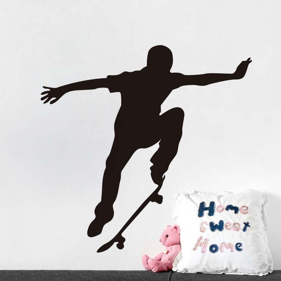 Dctop Fashion Skate Wand Aufkleber Vinyl Aufkleber Home Decor Skateboard Extreme Sport Pvc Aufkleber Hause Dekoration Farbe Schwarz Wandbild