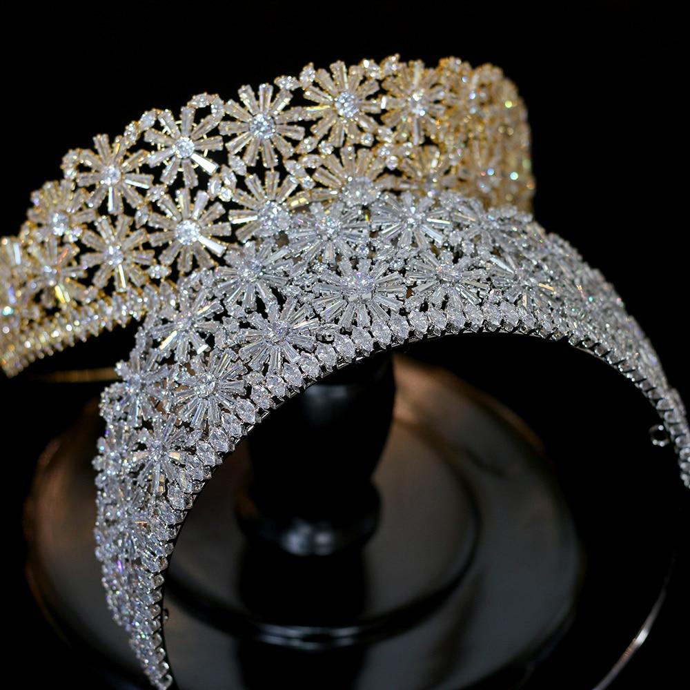 Alta calidad de oro / plata corona 3AAA CZ rhinestone princesa tiara boda cena accesorios para el cabello