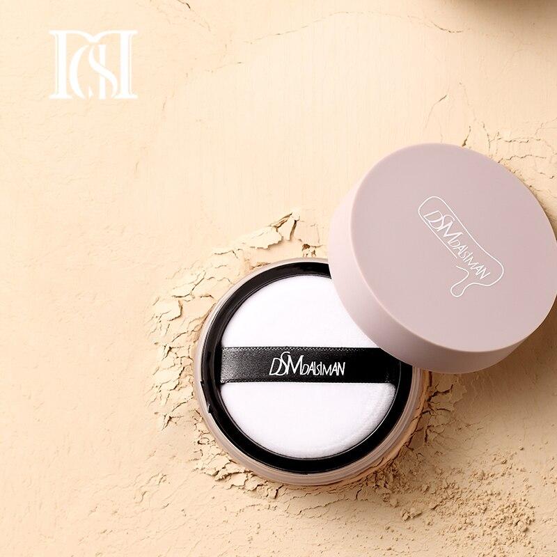 Polvo suelto de luz de niebla D.S.M a prueba de agua acabado de la piel de la cara polvo de belleza base de maquillaje en polvo compacto