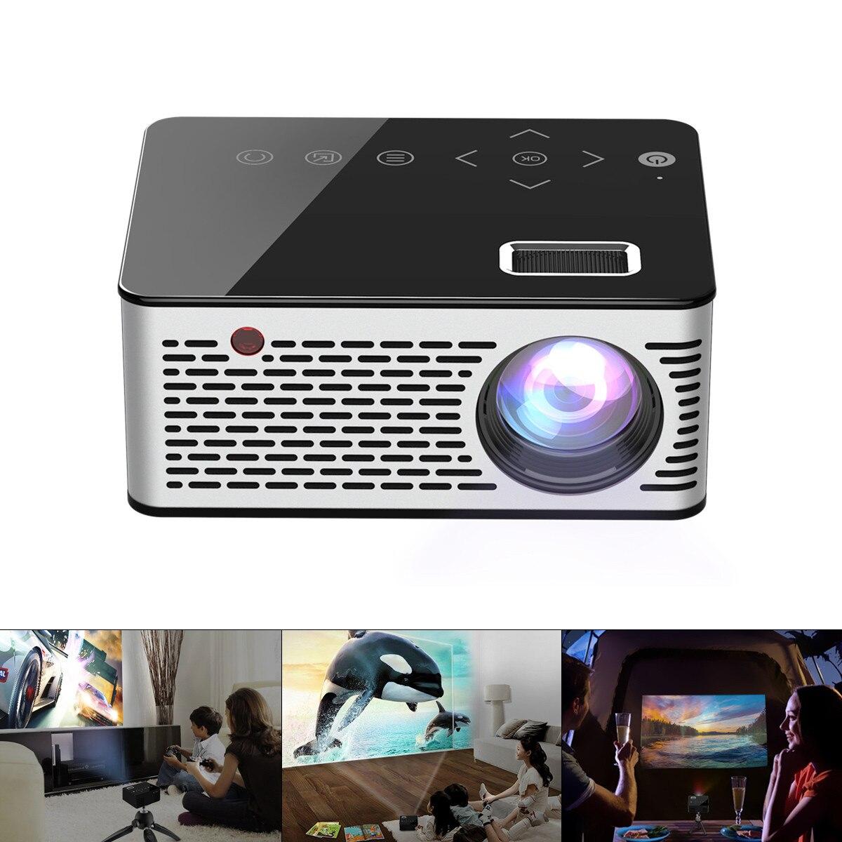 T260 Universal 116 pulgadas portátil Mini proyector LCD AV USB HDMI Home Theater foto música película proyector con botón táctil
