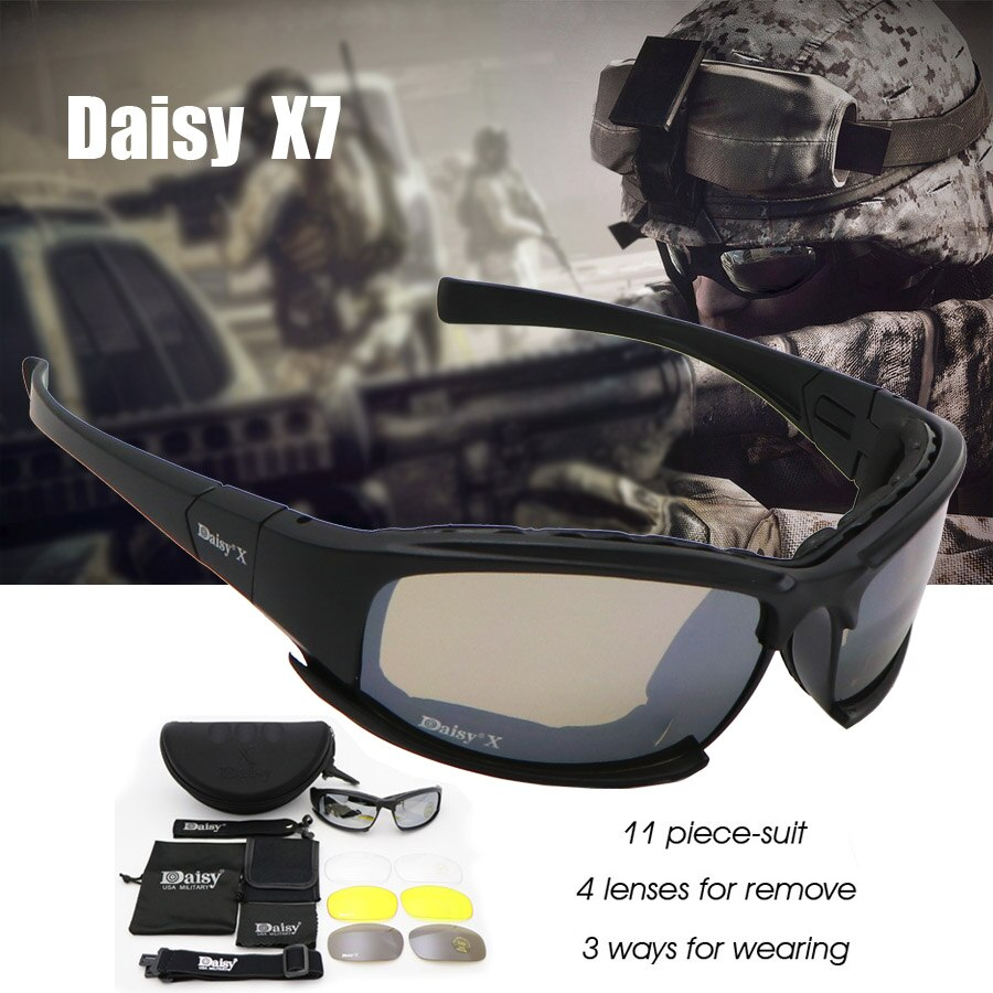 Daisy C6 Military Goggles Bullet-proof Army Polarized Sunglasses X7 4 Lens Men Hunting Shooting Airs
