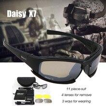 Daisy c6 militar óculos de proteção à prova de bala exército óculos polarizados x7 4 lente homem caça tiro airsoft tático eyewear