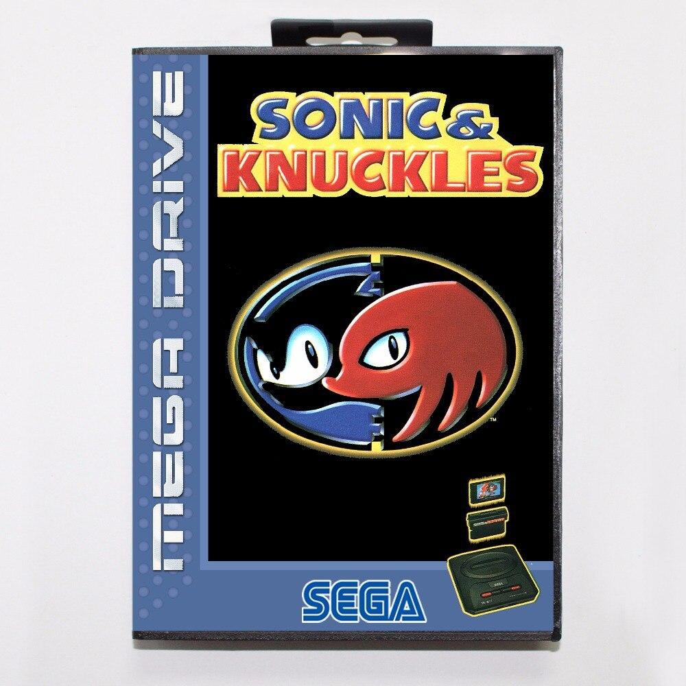 Sonic e knuckles cartucho de jogo 16 bit md cartão de jogo com caixa de varejo para sega mega drive para genesis