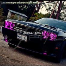 Для 08-14 Dodge Challenger w/o Pro Plasma Halo кольца голова Ангельские Глазки RGB LED Demon eyes kit