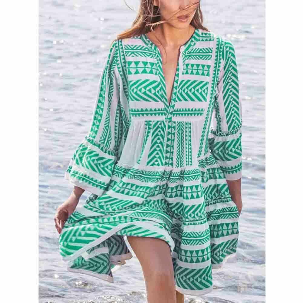 New Ladies Women Fashion Boho Summer Smock Swing Dress Tops Holiday Beach Casual V Neck Loose Frill Sundress