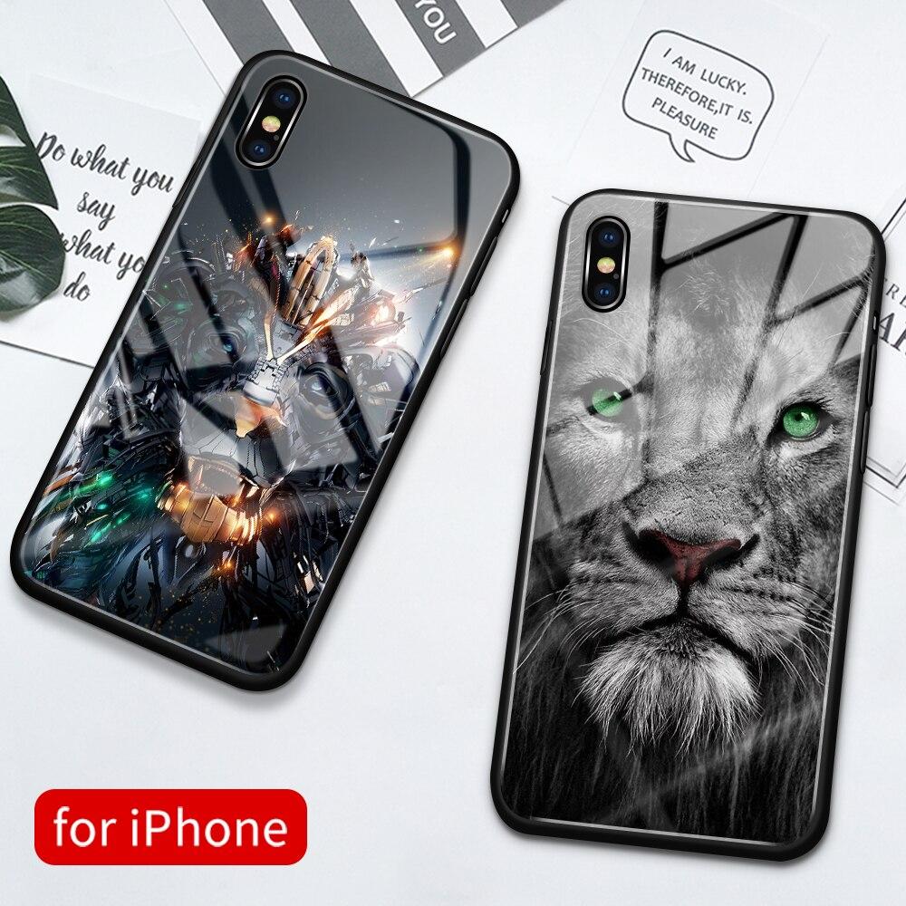 Funda trasera de cristal para iPhone xs max, funda con diseño de León y animal para iphone 11, funda para iPhone 6, 6s, 7, 8 Plus, X, XS, Max, XR, 11 pro, max y SE2