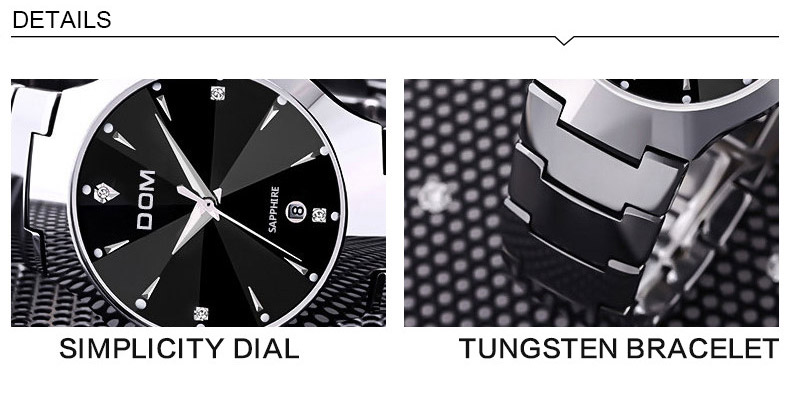 Hk dom luksusowe top marka męska zegarek wolframu stal wrist watch wodoodporna biznesu kwarcowy zegarek fashion casual sport watch 3