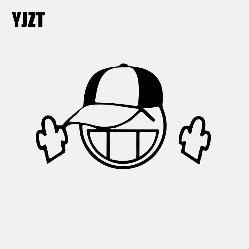 YJZT 14CM * 8,4 CM pegatina de coche de la motocicleta Smiley vinilo pegatina dedo medio negro/plata C3-1982