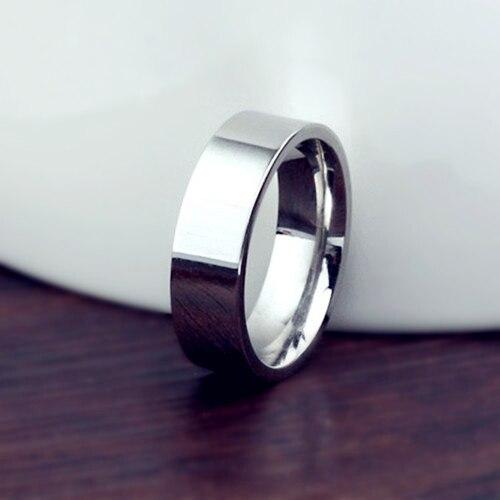 Anel de titânio escovado, 6mm, para casamento, 18kgp, aço inoxidável, sólido, para homens e mulheres, anel personalizado, anel gravado