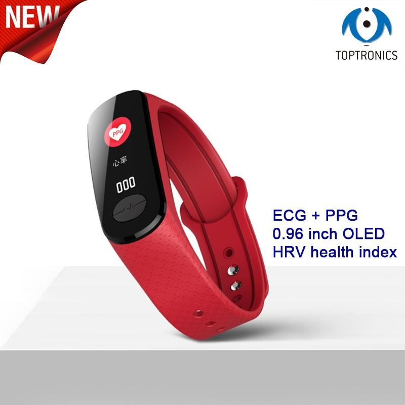 Kinyo B18 Smart Band Monitor de ritmo cardíaco de alta presión arterial PPG + ECG pulsera inteligente IP67 a prueba de agua Fitness Tracker reloj deportivo