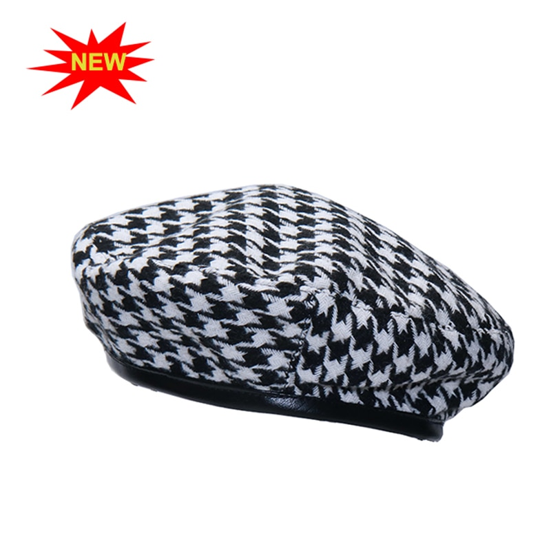 New autumn winter Plaid Beret Hats For Women French Berets Fashion Female Houndstooth Berets Black B