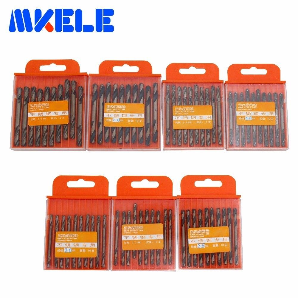 10 unids/caja Mini taladro de doble giro HSS/herramientas de taladro de carpintería de acero de alta velocidad cincel de mortajado Set3.0/3,2/3,5/4,0/4,2/5,0/5,2mm