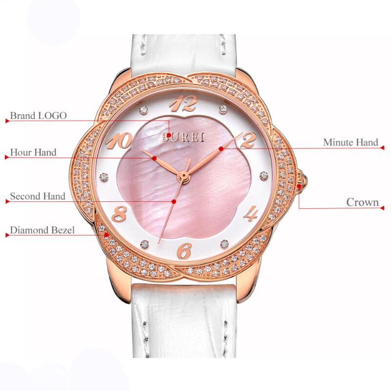 BUREI Brand Ladies Fashion Silver Rose Gold Watches Women Luxury Waterproof Sapphire Casual Quartz Wristwatches Relogio Feminino enlarge