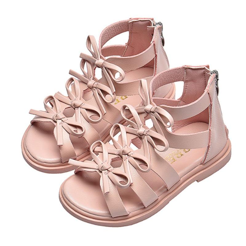 Сандалии гладиаторы для девочек модные летние сандалии на плоской подошве с