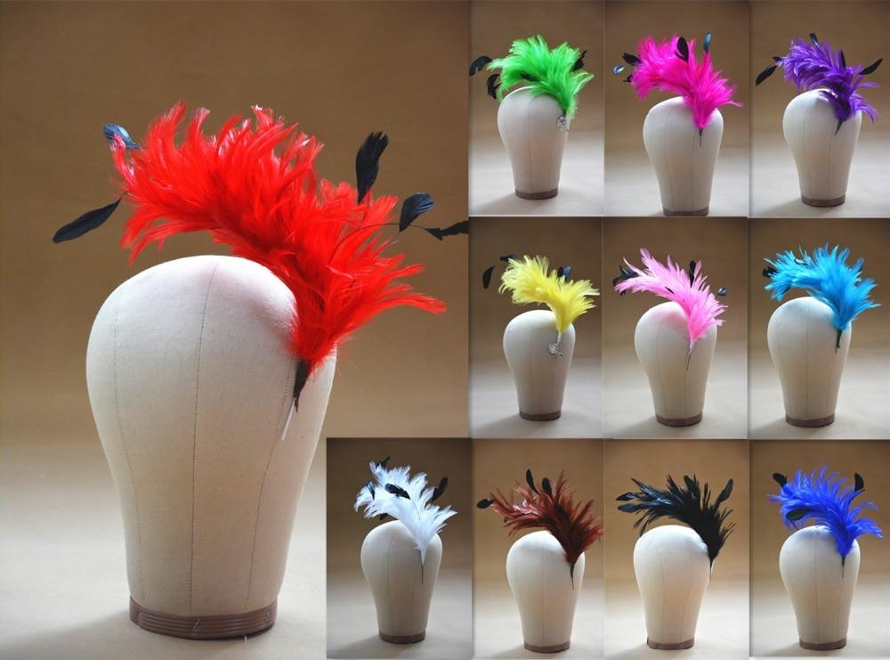 B061 Hackle Coque a rayas pluma de árbol Pom montaje flor Trim Hat Millinery al por mayor