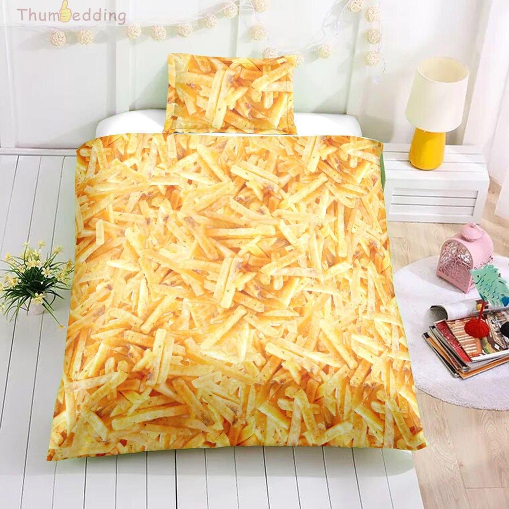 Thumbedding Fried Chips King Size Bedding Sets Food 3D Duvet Cover Set Digital Printing High Quality Designed Bed Set 3pcs