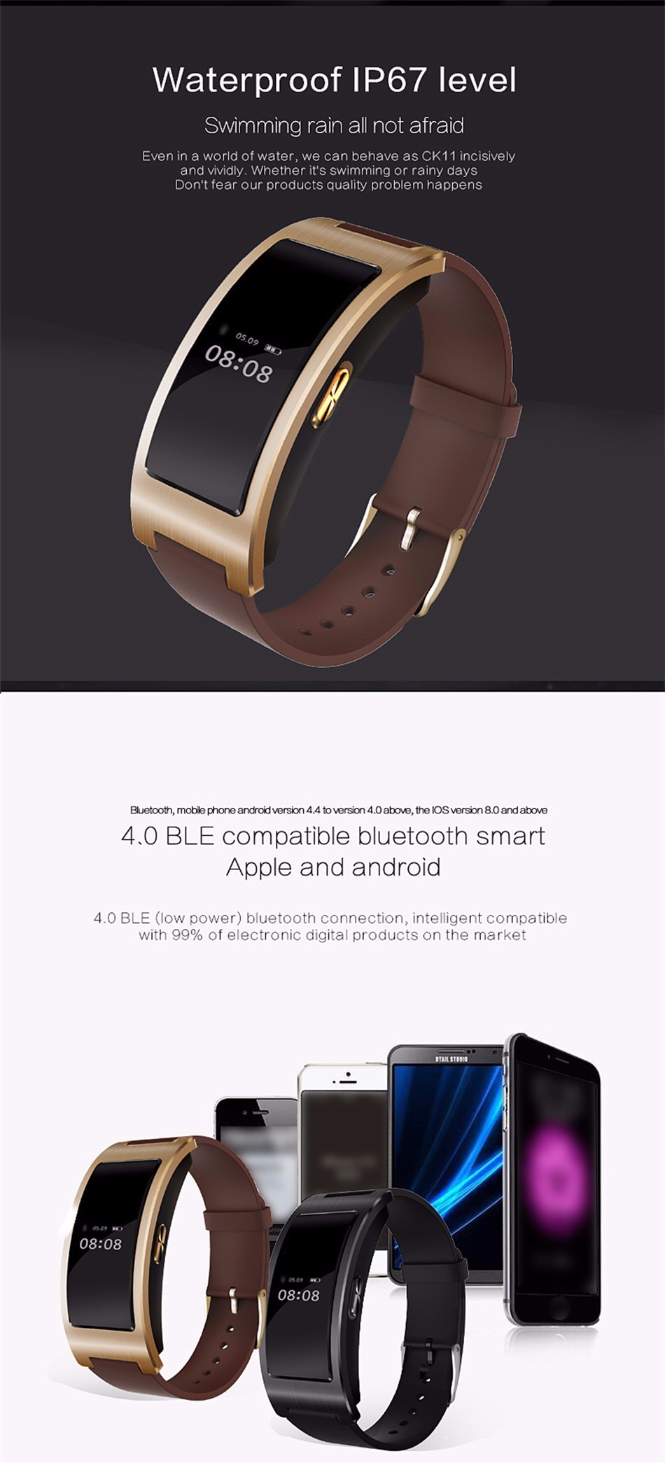 Bluetooth smart watch bransoletka zespołu blood pressure monitor tętna ck11 smartwatch krokomierz fitness dla ios android 11