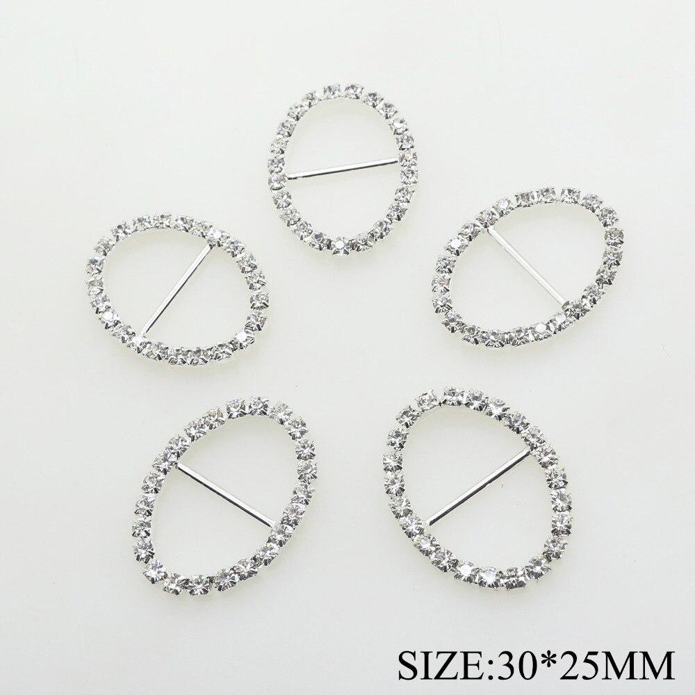 10 шт./лот 30*25 мм серебристого металла овальные Стразы пряжки для свадебное платье