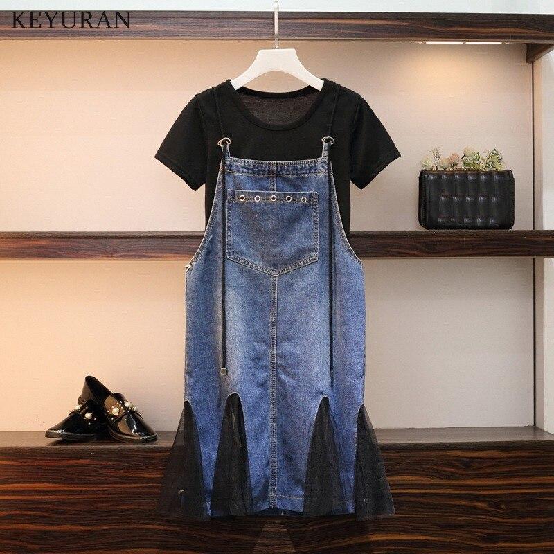 L-4XL de verano de talla grande para mujer, camisetas negras de algodón + bolsillos, vestido de tela vaquera con tirantes de retazos y malla, conjuntos de 2 uds L3408