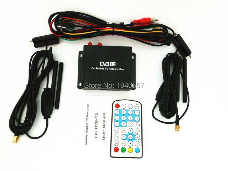1080P coche móvil DVB T2 160-180 km/h Doble sintonizador H.264 MPEG4 móvil caja de TV Digital externa USB HDMI DVB-T2 receptor de TV para auto