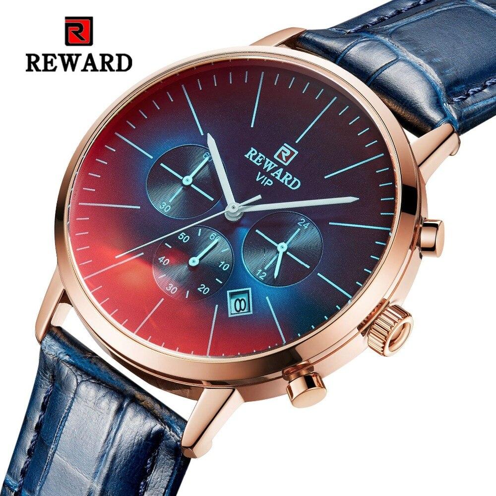 Premiación 2020 marca caliente de lujo de los hombres impermeable calendario gradiente de Vidrio colorido Dial correa de cuero relojes de hombre reloj Masculino