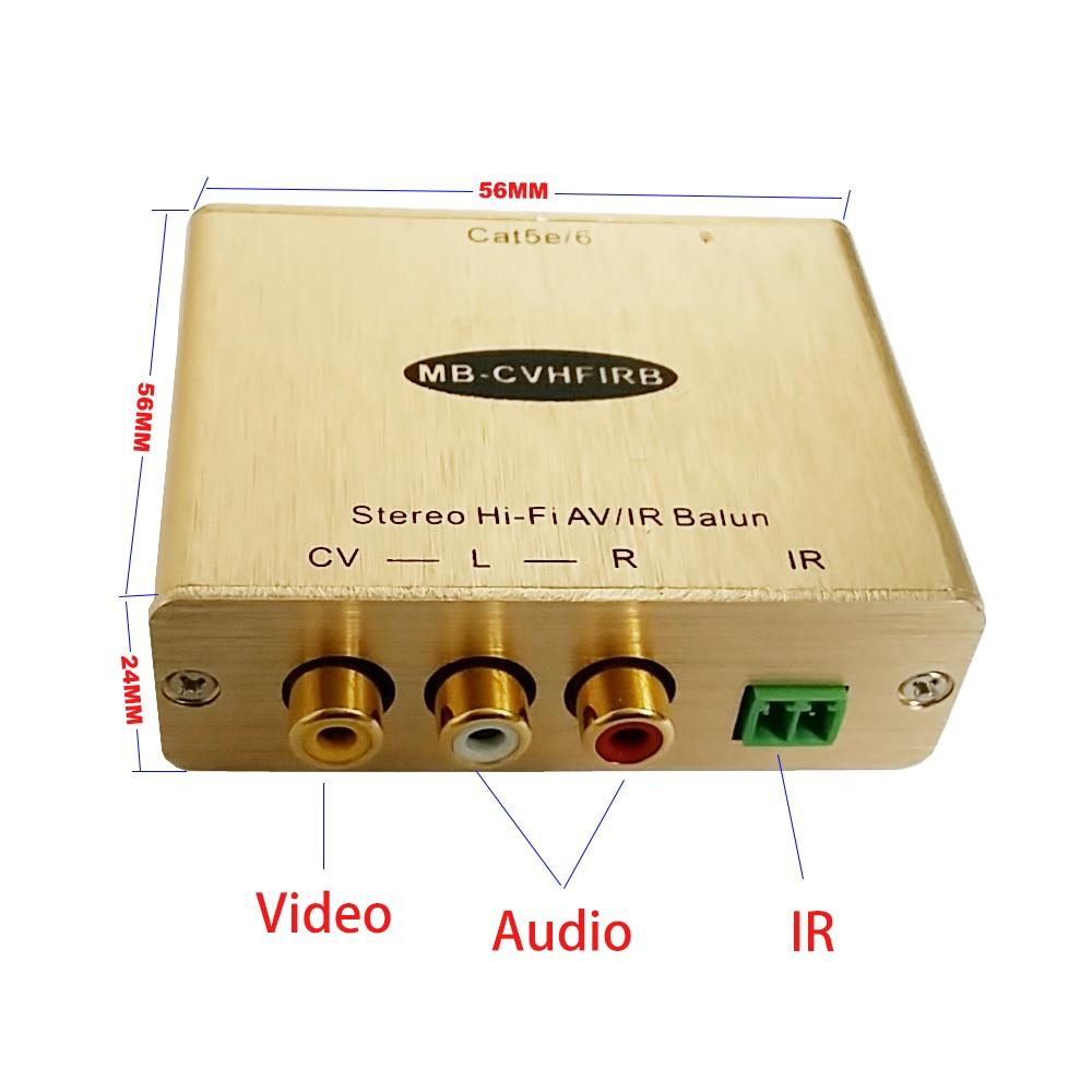 موسع صوت وفيديو ستيريو تناظري ، مع IR RCA AV ، جهاز إرسال واستقبال عبر Cat5e/6