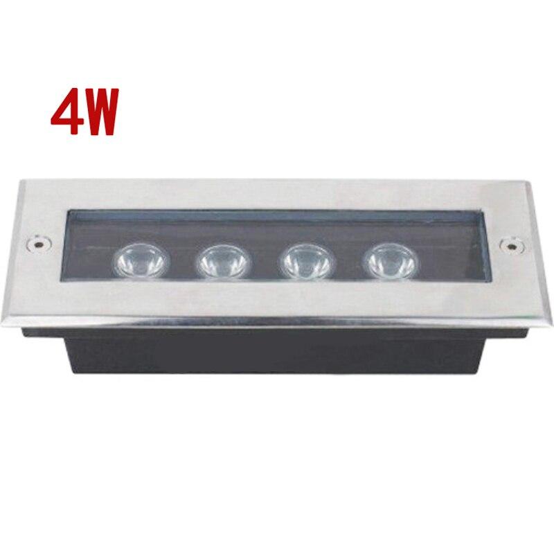 (3 unids/lote) L200 * W80 * H60MM rectángulo 4*1W Led luz subterránea luz Led para jardín IP67 AC100V-240V Luz de escalera exterior Terraza