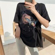 T-Shirt noir femmes vêtements 2019 Mission à Mars vaisseau spatial imprimer Arizona haut en coton T-Shirt