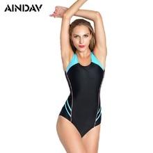 New S-5XL Plus Size Sports One Piece Swimsuit Women Swimming Bathing Suits Patchwork Slimming Leotard Monokini Swimwear
