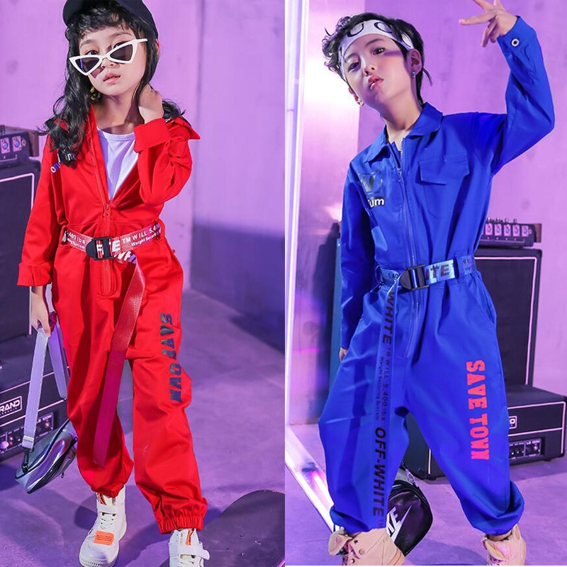 Girls Jazz Modern Dancing Costumes Clothing Suits Kids Children's Hip Hop Dance wear Outfits Stage C