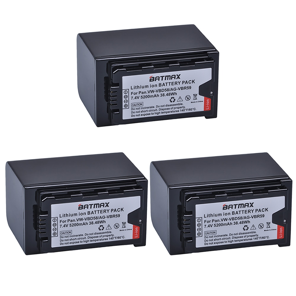 3 قطع VW-VBD58 VBD29 VBD58 VBD78 البطارية لباناسونيك AJ-HPX260MC ، HPX265MC ، PX270 ، PX280MC ، PX285MC ، PX298 ، AG-FC100 ، DVX200 ، HC-X1000
