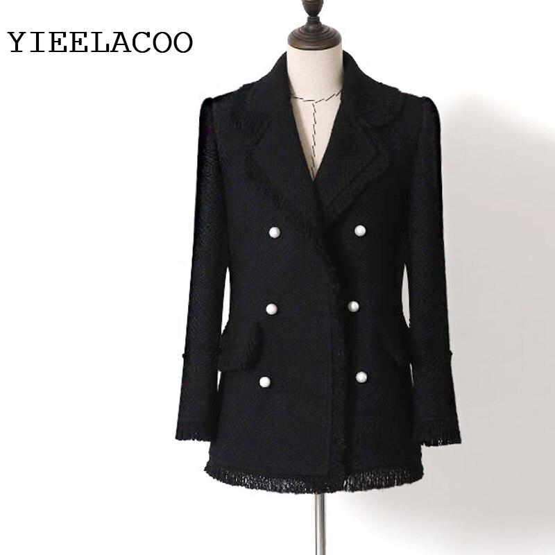 Chaqueta de tweed negra/blanca, chaqueta de mujer con borlas trenzadas con viento pequeño y fragante, Chaqueta de traje con hebilla de perla de doble botonadura