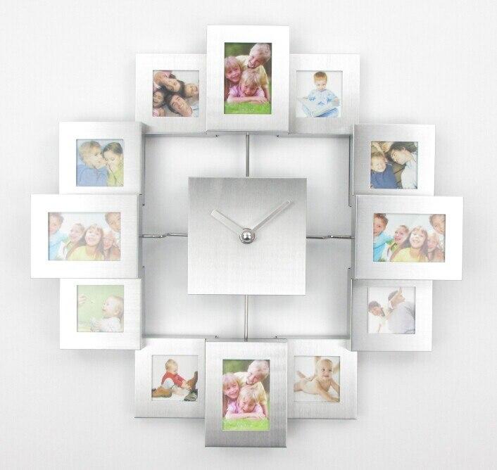 Modern Design Photo Frame Clock with 12 Pictures Large Decorative Metal Wall Clock Living Room Art Decor Horloge Murale