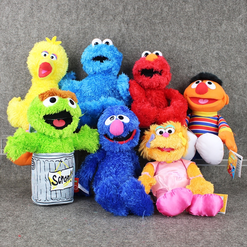 7 estilos 27-40cm dibujos animados Anime Barrio Sésamo Elmo Oscar galleta Grover Zoe Ernie Big Bird peluche juguete muñeca niños regalo