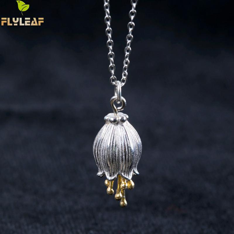 Женское Ожерелье и подвеска Flyleaf, из 100% стерлингового серебра 925 пробы с золотыми цветами