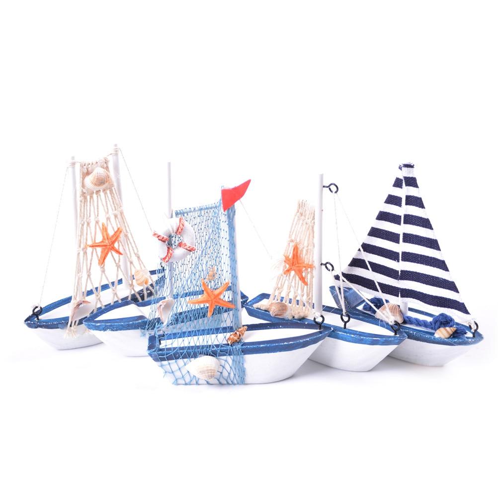 1pc Mini Sailing Boat Model Nautical Home Decor Cloth Sailboat Model Flag Table Ornament Wood Crafts Toy Kids Gift