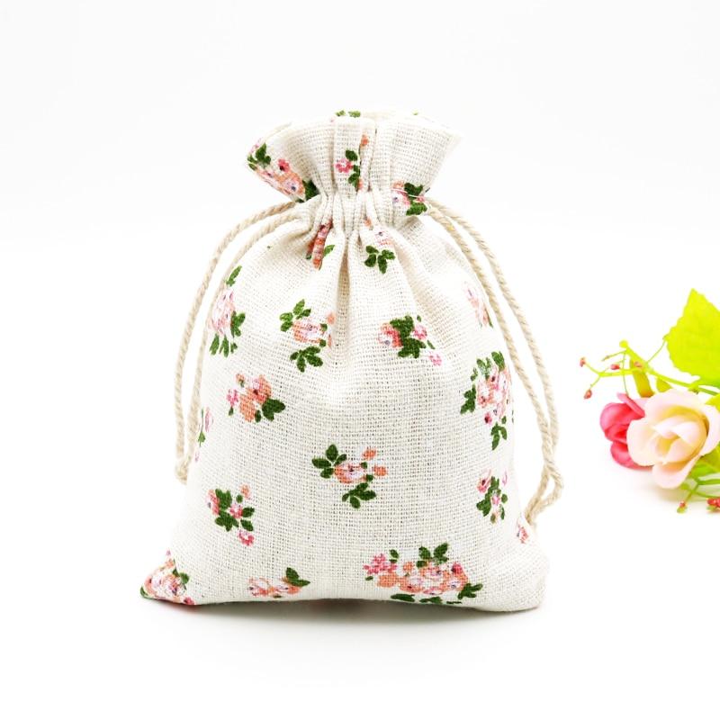 5PCS  10x14cm Cotton Linen Bags Sweet Pink Flower Gift Drawstring Bags Neckalce Bracelets Bangle Handmade Jewelry Packing Bag