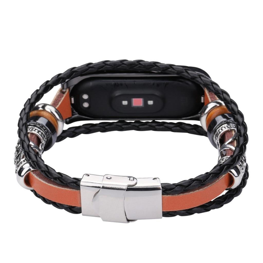 2020 für Xiaomi Mi Band 4 Ersatz Leder Perlen Armband Armband Weave Geflochtene фитнес браслет смарт браслет # G20