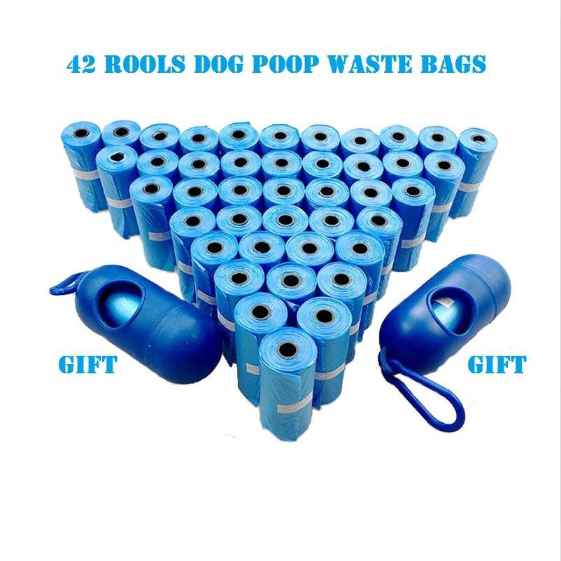 Calidad 12/20/42 rollos de bolsas de basura para perros con dispensador y Clip de correa Bolsa para popó rollos de recarga duraderos de mascotas Black Pooper Scoopers