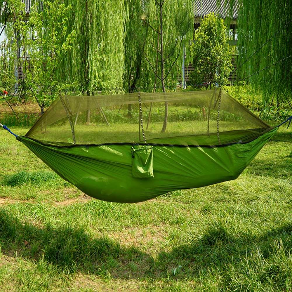 260x140cm novo duplo automático nnfolding hammock 210t material de náilon ultraleve parachute rede tunting mosquiteiro levantamento